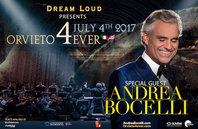 """Andrea Bocelli in Piazza Duomo per la quarta edizione di """"Orvieto4Ever"""""""
