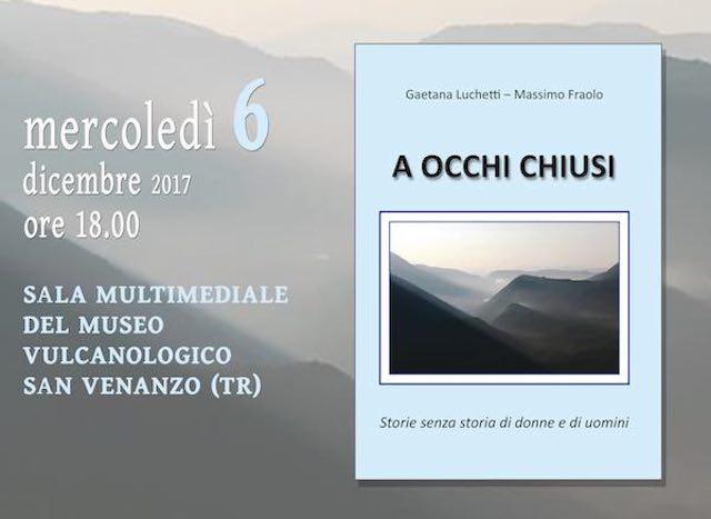 """Gaetana Lucchetti e Massimo Fraolo presentano il libro """"A occhi chiusi"""""""