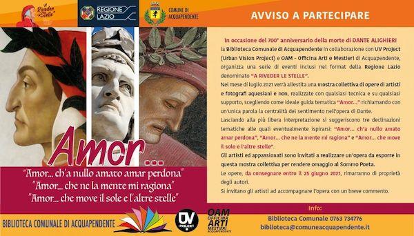 A luglio la mostra collettiva per omaggiare Dante Alighieri. Aperto l'invito a partecipare