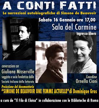 """Una giornata dedicata a Simone de Beauvoir. Sabato 16 gennaio a cura de """"Il Filo di Eloisa - Associazione culturale Eloisa Manciati"""""""