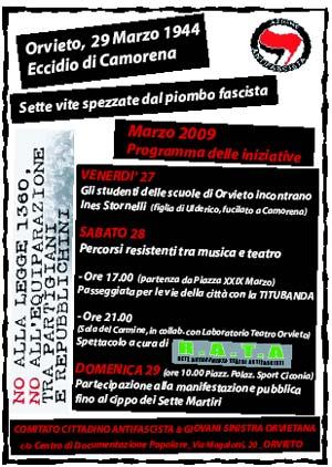 """29 marzo 1944 - 29 marzo 2009: anniversario dell'eccidio di Camorena. Dalla repressione fascista a quella """"democratica"""""""