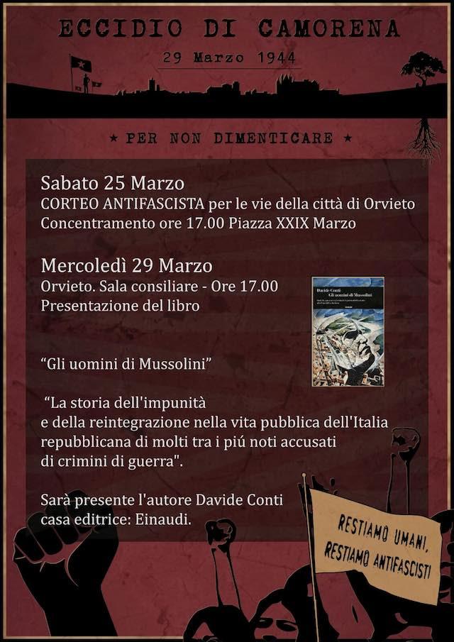 """Eccidio di Camorena, corteo cittadino e presentazione del libro """"Gli uomini di Mussolini"""""""