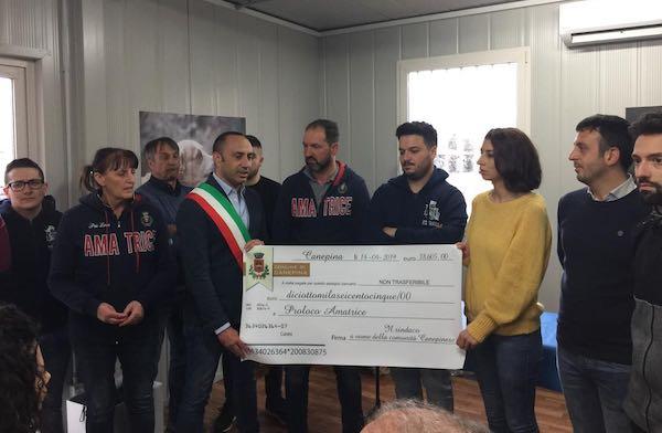 Consegnati ad Amatrice oltre 18.000 euro