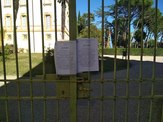 Trattamento fitosanitario in corso, il Parco di Villa Faina resta chiuso nel pomeriggio