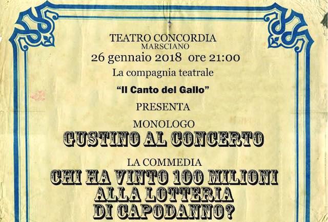 """Al Concordia, serata dedicata al teatro con """"Il Canto del Gallo"""""""
