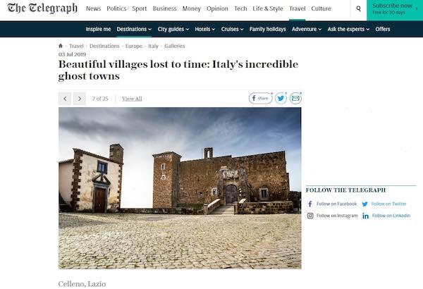 Celleno fra i 25 borghi fantasma d'Italia secondo il Telegraph