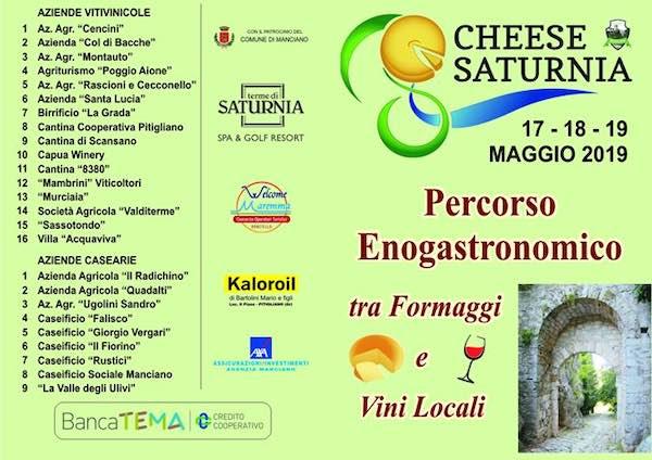 """""""Cheese Saturnia"""", percorso gastronomico tra formaggi e vini locali"""
