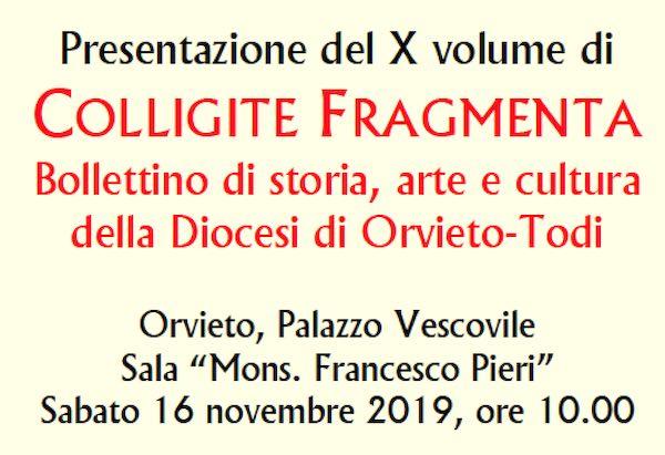 """Si presenta il decimo numero del bollettino diocesano """"Colligite Fragmenta"""""""