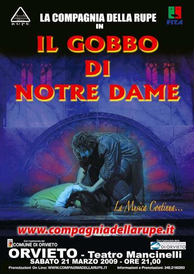 """La Compagnia della Rupe torna al Mancinelli di Orvieto con il nuovo spettacolo """"Il Gobbo di Notre Dame"""". Sabato 21 marzo"""