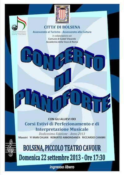 Prima trasferta per i corsi estivi di Castel Viscardo. Domenica 22 concerto di pianoforte a Bolsena