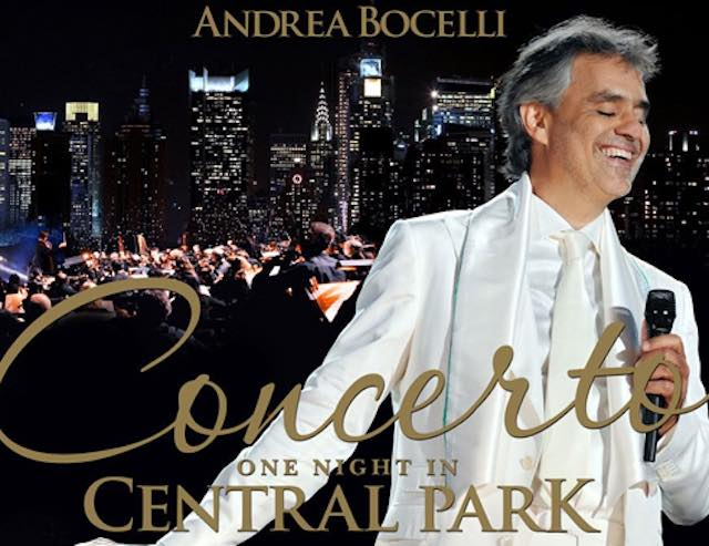 """One night in Central Park"". Alla Sala Eufonica il concerto di Andrea Bocelli"