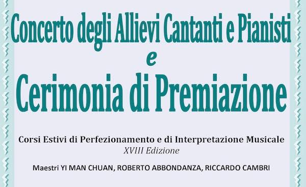Concerto e cerimonia di premiazione per gli allievi cantanti e pianisti