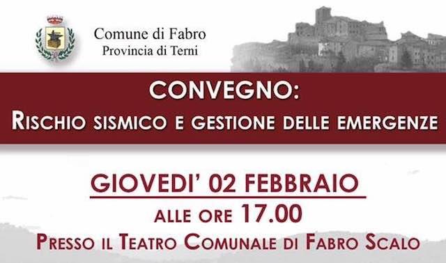 """""""Rischio sismico e gestione delle emergenze"""". Convegno al Teatro Comunale di Fabro Scalo"""