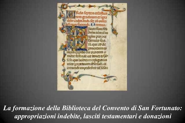"""Per """"Museo Vivo"""", focus sui tesori della biblioteca del Convento di San Fortunato"""
