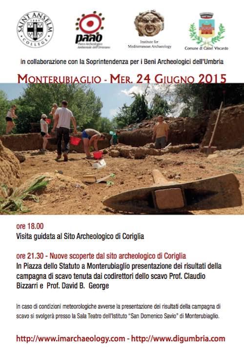 Nuove scoperte dal sito archeologico di Coriglia. A Monterubiaglio la presentazione