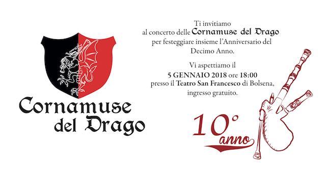 Le Cornamuse del Drago compiono dieci anni. Concerto al Teatro San Francesco