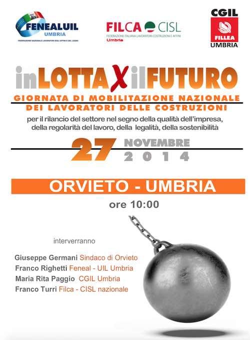 """""""In lotta per il futuro"""". A Orvieto la giornata di mobilitazione dei lavoratori delle costruzioni"""