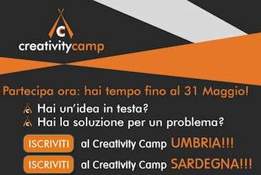 """Giovani e idee d'impresa. Entro il 31 maggio le domande per il progetto """"creativity camp"""""""