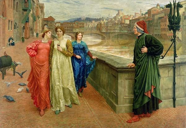 Dante e Beatrice in un quadro di Henry Holiday