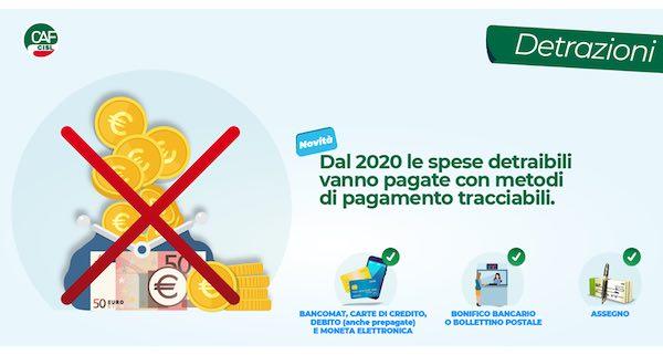 Dal 2020 le spese detraibili vanno pagate con metodi di pagamento tracciabili