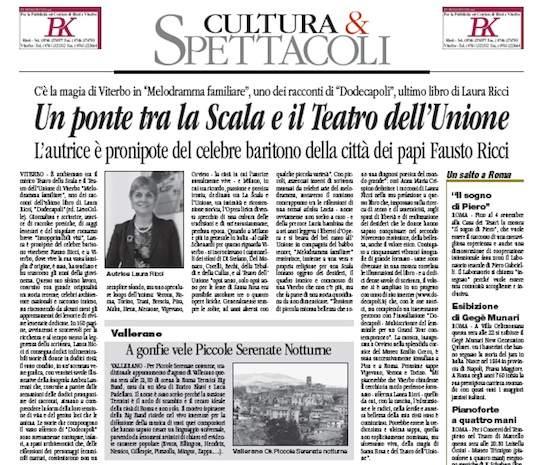 """Un ponte tra La Scala e il Teatro dell'Unione. Il Corriere di Viterbo dedica un bell'articolo a """"Dodecapoli"""" di Laura Ricci"""