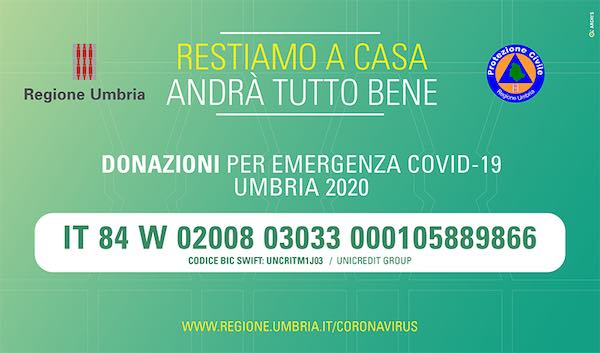 Coronavirus, la Regione Umbria attiva il conto corrente per le donazioni