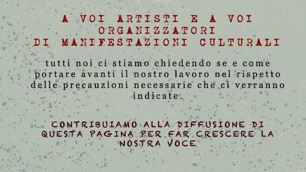Appello al Governo da parte di artisti e organizzatori di eventi culturali