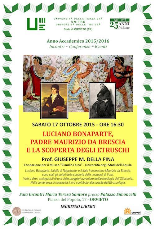 """All'Unitre, incontro su """"Luciano Bonaparte, Padre Maurizio da Brescia e la scoperta degli Etruschi"""""""