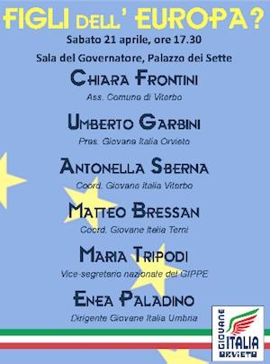 """""""Figli dell'Europa?"""". Incontro organizzato da Giovane Italia Orvieto sull'attuale fase critica dell'Unione Europea"""