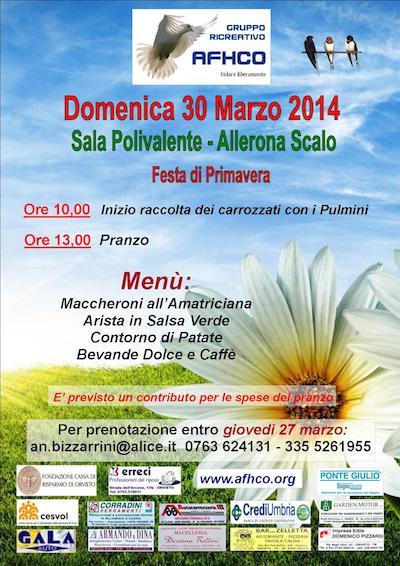 Festa di Primavera con l'Afhco alla sala polivalente di Allerona Scalo