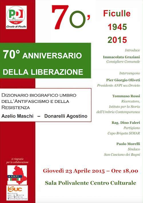 70esimo della Liberazione nel ricordo dei partigiani Azelio Maschi e Agostino Donarelli