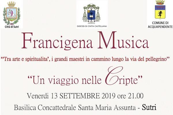Francigena Musica, concerto nella Cripta della Basilica Concattedrale