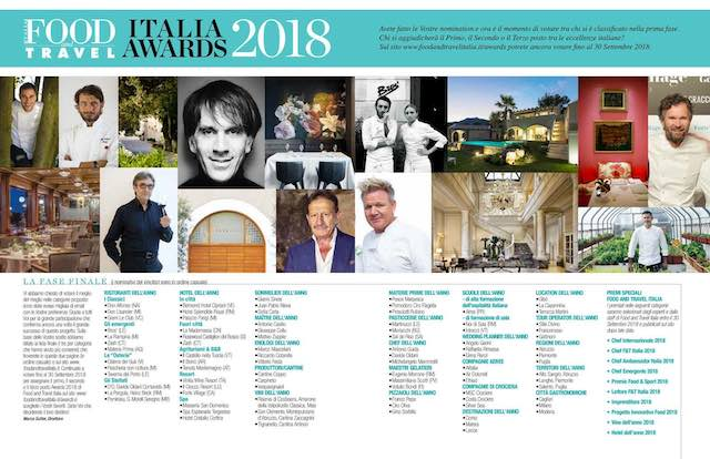 """Awards 2018 Food and Travel Italia"", brillano le eccellenze del territorio"