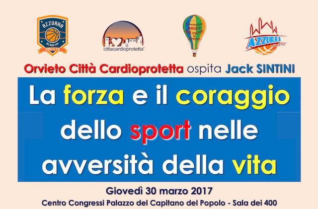 """Orvieto incontra Jack Sintini. """"La forza e il coraggio dello sport nelle avversità della vita"""""""