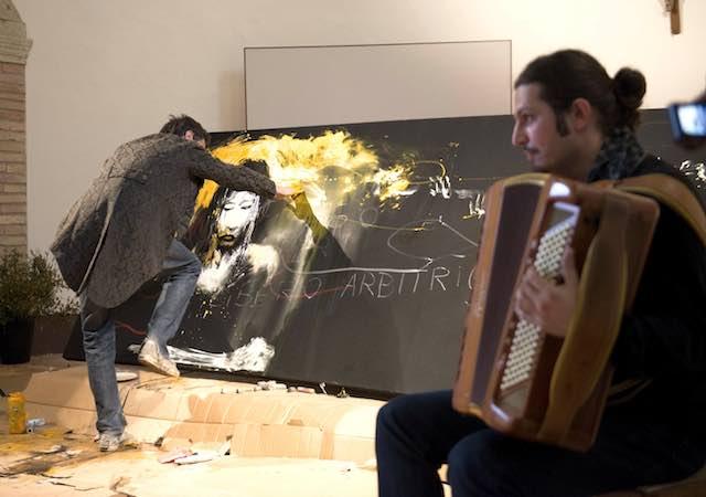 """Sul palco di """"Trappola Acustica"""", live painting di Max Frezzato"""
