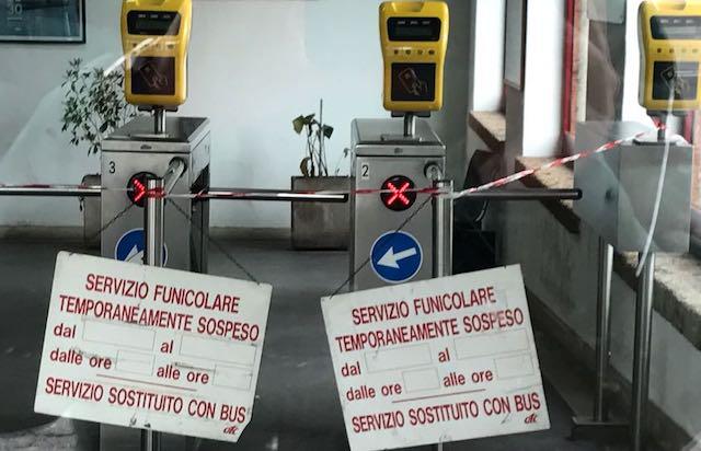 Funicolare chiusa per interventi manutentivi, attivo il bus sostitutivo