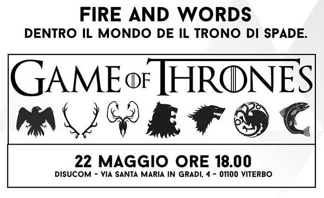 "Al Disucom ""Winter is Coming"". Appuntamento con gli studenti e ""Il trono di spade"""