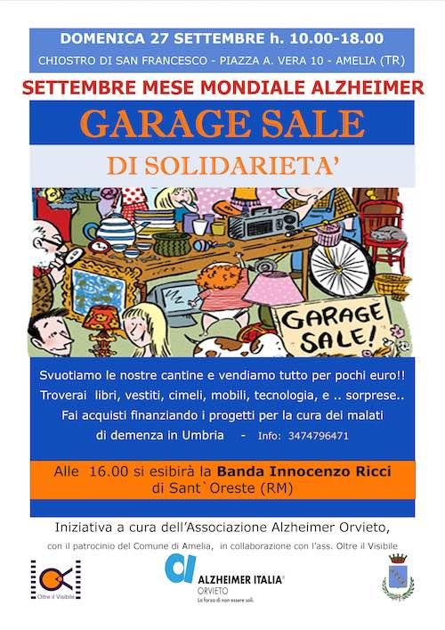 """L'Associazione Alzheimer Orvieto ad Amelia per """"Garage Sale di Solidarietà"""""""