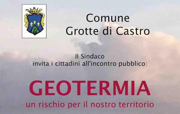 """Incontro pubblico su """"Geotermia: un rischio per il nostro territorio"""""""