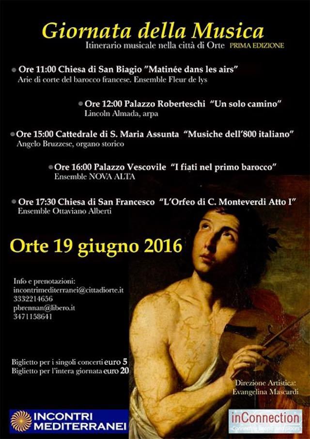 """""""Giornata della Musica"""", itinerario musicale nella città di Orte"""
