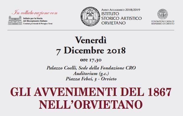 """A Palazzo Coelli conferenza su """"Gli avvenimenti del 1867 nell'Orvietano"""""""