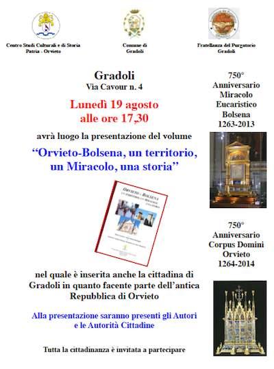 """Prosegue il cammino del libro """"Orvieto-Bolsena, un territorio, un Miracolo, una storia"""". Lunedì presentazione a Gradoli"""