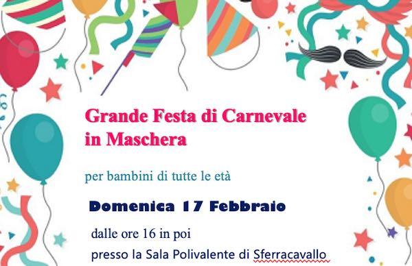 Grande festa di Carnevale in maschera alla Sala Polivalente di Sferracavallo
