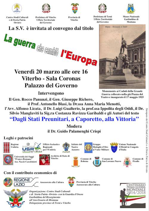 """""""La Guerra che cambiò l'Europa"""". A Viterbo la conferenza del Centro studi culturali e di storia patria di Orvieto"""