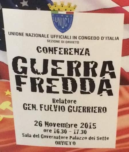 Il generale Fulvio Guerriero alla conferenza sulla Guerra Fredda dell'Unuci