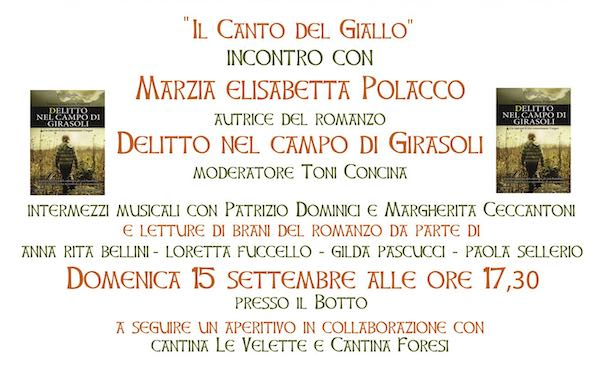 """""""Il Canto del Giallo"""". Incontro letterario con Marzia Elisabetta Polacco"""
