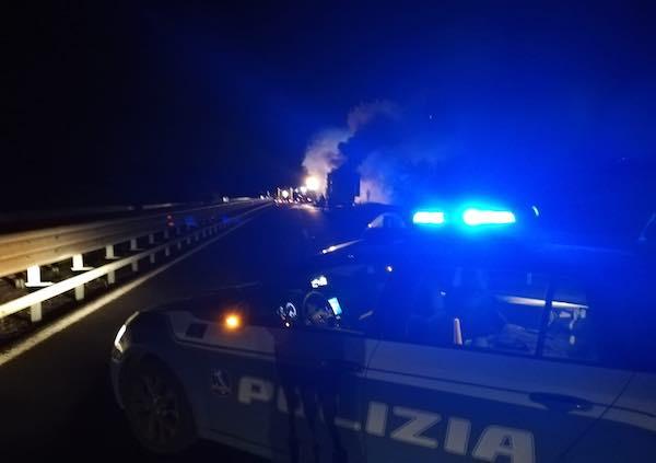 A1, a fuoco un tir adibito al trasporto alimentare tra Orvieto e Fabro