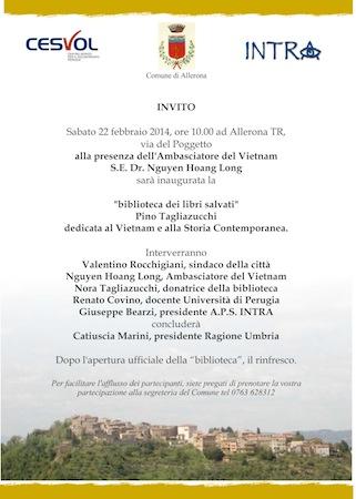 """Ad Allerona l'associazione Intra inaugura la biblioteca dei libri salvati """"Pino Tagliazucchi"""""""