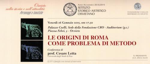 """""""Le origini di Roma come problema di metodo"""". Incontro di Cesare Letta a Palazzo Coelli"""