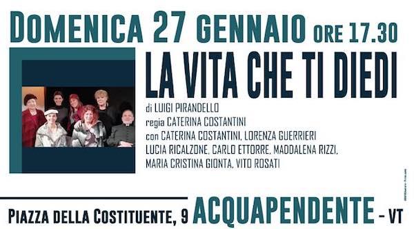 """""""La vita che ti diedi"""". Al Teatro Boni, va in scena Pirandello"""